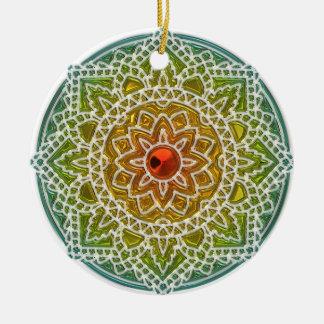 Hübsche grüne und rote keramik ornament