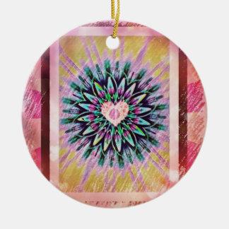 Hübsche Herzmandala-Weihnachtsverzierung Keramik Ornament