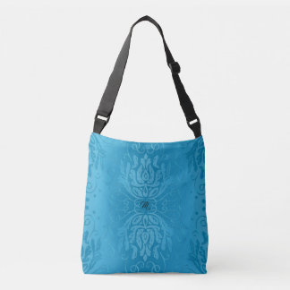 Hübsche Himmel-Blau-Damast-Monogramm-Tasche Tragetaschen Mit Langen Trägern