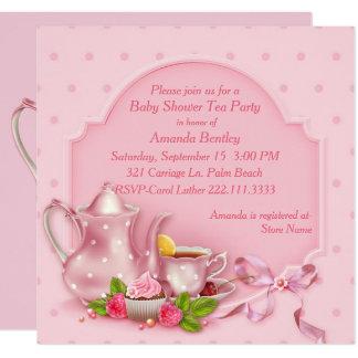 Hübsche rosa Baby-Duschen-Tee-Party Einladung