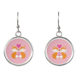 Hübsche rosa Fuchs-Küsse Ohrringe