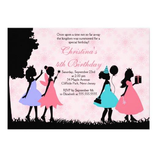 Hübsche rosa Prinzessin Fairy Birthday Party Einladungen