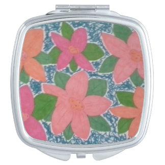 Hübsche tropische Blumen-kompakter Spiegel Taschenspiegel