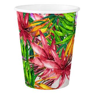 Hübsche tropische Party-Waren-mit Blumenschalen Pappbecher