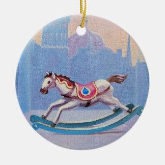 Hübsche Weihnachtenschwingpferdedekoration Keramik Ornament