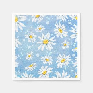 Hübsche weiße Gänseblümchen auf Blau Serviette