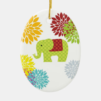 Hübscher bunter Hippie-Elefant-Blumen-Power Ovales Keramik Ornament