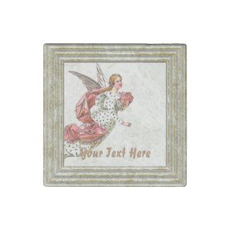 Hübscher Engel mit rosa Band Stein-Magnet