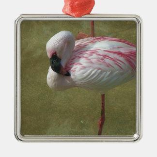 Hübscher Flamingo Quadratisches Silberfarbenes Ornament