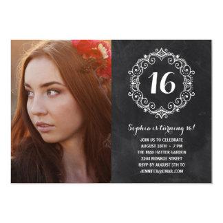 Hübscher Foto-16. Geburtstag-Geburtstag der 12,7 X 17,8 Cm Einladungskarte