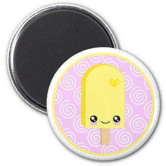 Hübscher gelber ZitronePopsicle Kawaii Magnet Runder Magnet 5,1 Cm