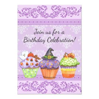Hübscher Halloween-Kuchen-Mädchen-Geburtstag laden 12,7 X 17,8 Cm Einladungskarte