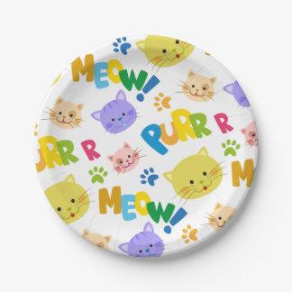 Hübscher Kittygeburtstags-Party Meow-Papier-Teller Pappteller