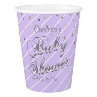 Hübscher Lavendel und Silber - Baby-Dusche Pappbecher