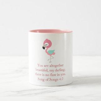 Hübscher rosa Flamingo Zweifarbige Tasse