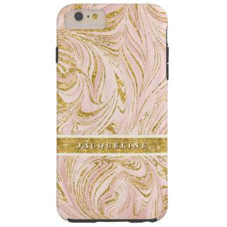 Hübscher rosa Imitat-GoldGlitter gemarmorte Tough iPhone 6 Plus Hülle