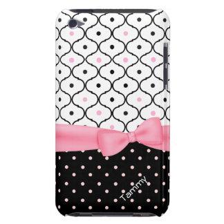 Hübscher rosa, schwarzer u. weißer Polka-Punkt Case-Mate iPod Touch Hülle