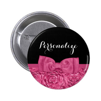 Hübscher rosa und schwarze Roseblumenchic-Bogen Anstecknadelbuttons