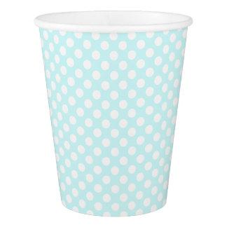 Hübsches Aqua-Blau mit weißen Polka-Punkten Pappbecher