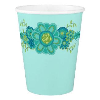 Hübsches aquamarines Blumen-Mittelstück Pappbecher