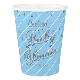 Hübsches Blaues und silbern - Baby-Dusche Pappbecher