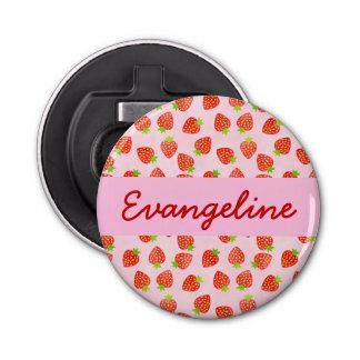 Hübsches Erdbeercreme-Muster personalisiert Flaschenöffner