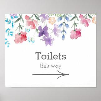 Hübsches Garten-Hochzeits-Toiletten-Zeichen der Poster