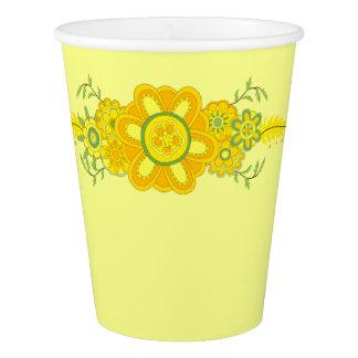 Hübsches gelbes Blumen-Mittelstück Pappbecher