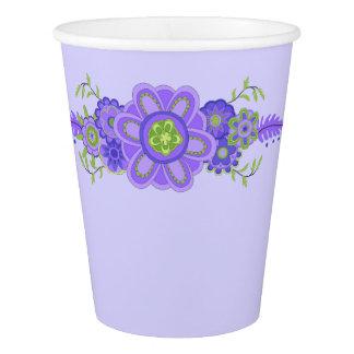Hübsches lila Blumen-Mittelstück Pappbecher