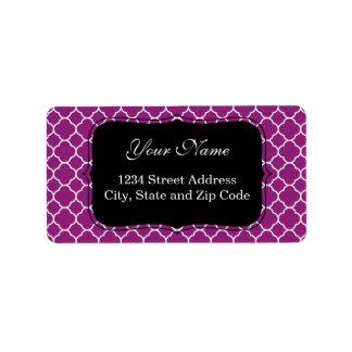 Hübsches lila Quatrefoil Muster Adressetiketten