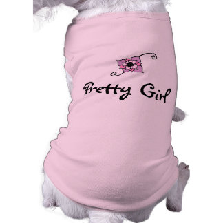 Hübsches Mädchen mit Blumen-Hundeshirt Ärmelfreies Hunde-Shirt