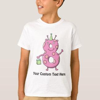 Hübsches Rosa-8. Geburtstags-Cartoon-Monster T-Shirt