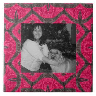 hübsches rosa braunes Muster Große Quadratische Fliese