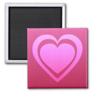 Hübsches rosa Herz Quadratischer Magnet