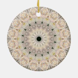 Hübsches rosa Pfingstrosemandala-Kaleidoskop Keramik Ornament