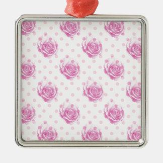 Hübsches rosa Rosenmuster Silbernes Ornament