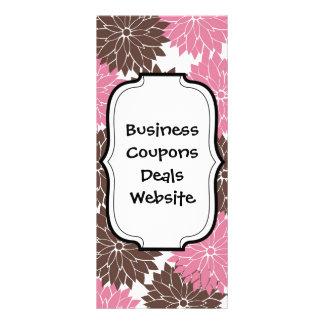 Hübsches Rosa und Brown-Blumen-Blüten-Blumendruck Werbekarten
