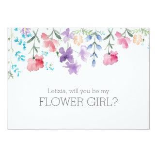 Hübsches rustikales Blumen-Mädchen der 12,7 X 17,8 Cm Einladungskarte