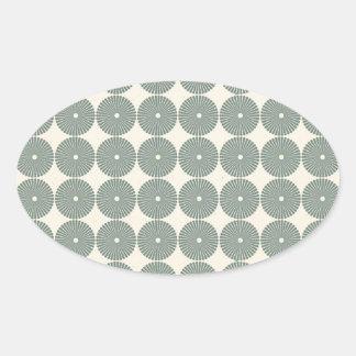 Hübsches Silber kreist Muster-Scheiben-Knöpfe ein Ovaler Aufkleber