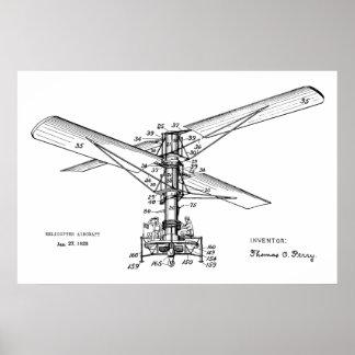 Hubschrauber-Flugzeug-Patent-Kunst 1925, die Druck Poster
