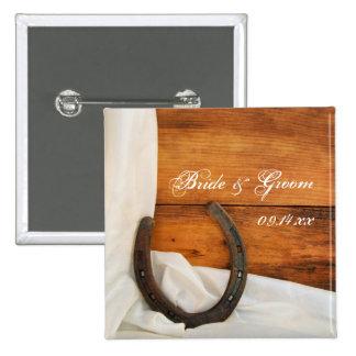 Hufeisen- und weiße Satin-Land-Scheunen-Hochzeit Quadratischer Button 5,1 Cm