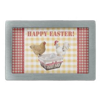 Huhn und Register, Korb der Eier, Rot, gelb Rechteckige Gürtelschnalle