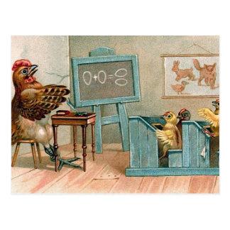 """""""Hühner in der Schule"""" Vintag Postkarte"""
