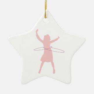hula Mädchen Keramik Stern-Ornament