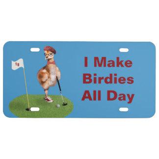 Humorvoller Vogel, der Golf, kundengerechten Text US Nummernschild