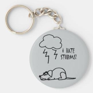 Hund ängstlich vom Gewitter-Cartoon Schlüsselanhänger