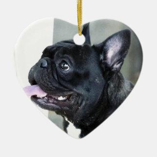 Hund der französischen Bulldogge Keramik Herz-Ornament