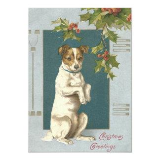 Hund, der Stechpalmen-Weihnachtsgrüße bittet 12,7 X 17,8 Cm Einladungskarte