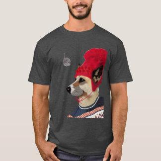 Hund in der Ski-Strickjacke T-Shirt