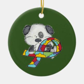 Hund mit Autismus-Bewusstseins-Band Keramik Ornament